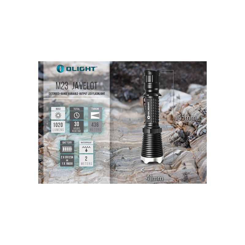 LINTERNA OLIGHT M23 JAVELOT XM-L2 1.020 LUM. KIT CAZA RECARGABLE